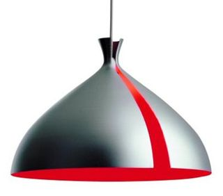 Aluminium-and-red-lampshad